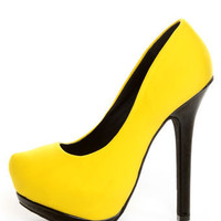 Dollhouse Dulce Yellow Lycra and Patent Platform Pumps - $39.00
