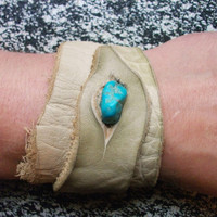 Cream Leather Wrist Cuff