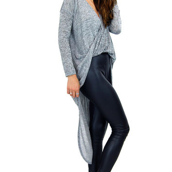 New Heather Grey Terry Knitted Drape Twisted Dolman 11130 Plunge Long Top S M L