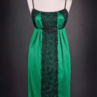 Short Evergreen Satin Beaded DRESS