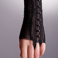 Short Black Lace Gloves with Beads