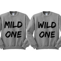 Grey Crewneck Mild One Wild One Best Friends Sweatshirt Sweater Jumper Pullover
