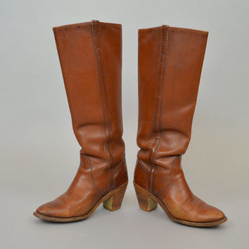 FRYE BOOTS vtg 80's boho hippie tall LEATHER campus riding w/ stacked wooden heels, size 6 36 4