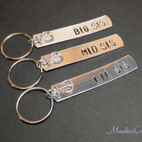 Keychains for Sisters, Big Sis, Mid Sis, Lil Sis, Anchor Charms, Family Accessory