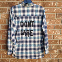 "Plaid flannel ""Don't Care"" hand painted shirt // soft grunge"