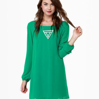 Beautiful Green Dress - Shift Dress - Kelly Green Dress - $40.00