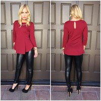 Jacquard Peplum Long Sleeve Top - WINE