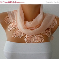 Salmon Scarf  - Cotton  Scarf -  Cowl with Lace Edge   -