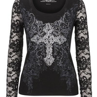 Maurices premium lace sleeve embellished tee