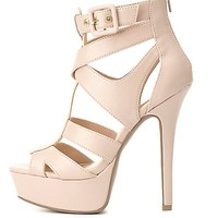 Buckled Strappy Platform Heels by Charlotte Russe - Blush