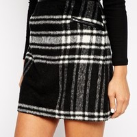 New Look Mono Check Brushed Skirt