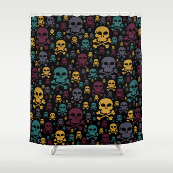 Skulls Shower Curtain by Alice Gosling