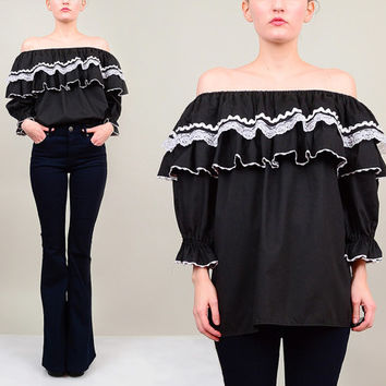 70s Black White Lace Ruffle Off Shoulder Blouse 1970s Boho Hippie Mexican Peasant Top M L