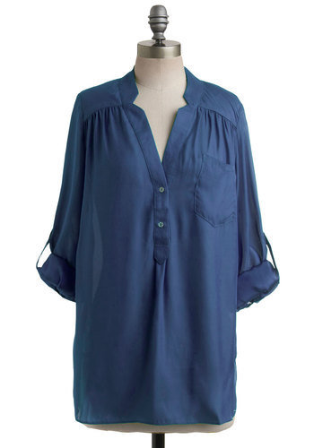 Pam Breeze-ly Tunic in Navy | Mod Retro Vintage Short Sleeve Shirts | ModCloth.com