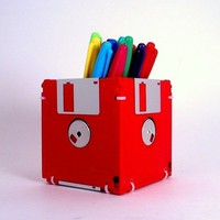 Floppy Disk Pen and Pencil Holder (RED)