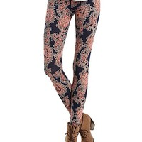 Cotton Paisley Print Leggings by Charlotte Russe - Navy Combo