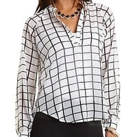 Windowpane Checked Chiffon High-Low Top - Ivory Combo