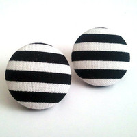 Black and white stripes button earrings