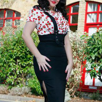 Heidi high waisted black 40s skirt with braces from Collectif