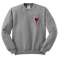 Grey Crewneck Grinch Heart Ugly Christmas Sweatshirt Sweater Jumper Pullover