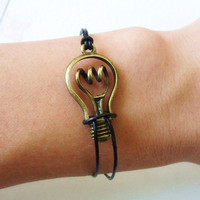 Bangle  bulb bracelet leather bracelet women bracelet girls bracelet made of antique bronze bulb and leather bracelet cuff  SH-1491