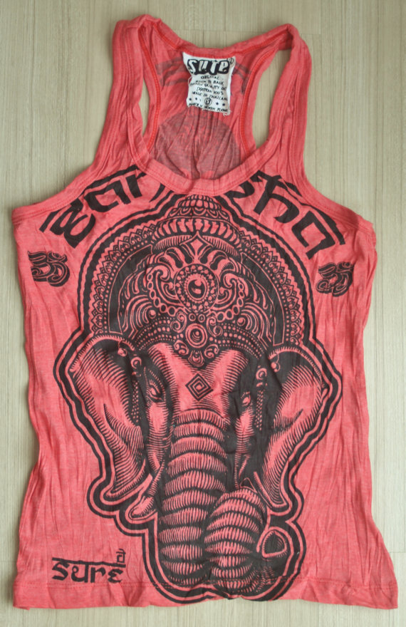 Women&#x27;s size M Cute Yoga Outfit Tank Top Ganesha Buddha T-shirt Boho