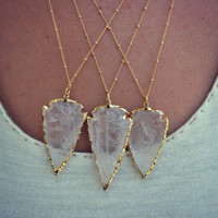 ARROWS ///  Crystal Quartz Arrowhead ///  Gold Bohemian Layering Necklace
