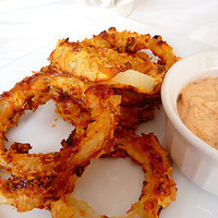 Oven-Fried Onion Rings with Dipping Sauce | Brown Eyed Baker