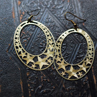 vintage golden brass star hoop earrings