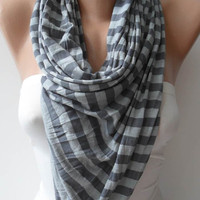 Grey Striped Scarf - Combed Cotton Fabric for Summer...