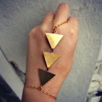 triangle slave bracelet, geometric bracelet, chevron stripe, bracelet ring, ring bracelet, art deco