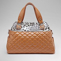 [$66.99 ] Stylish PU leopard-print decoration Brown Shoulder Handbag  - Dressilyme.com