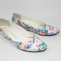 Floral Shoes 90s Wedge Heel White Size 7