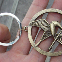 The Hunger Games pendant ,Inspired Mockingjay keychain antique brass