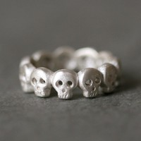 Baby Skull Band Ring in Sterling Silver UNISEX