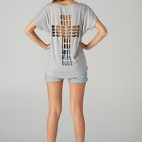 Grey Laser Cut Cross Back Short Sleeve Top