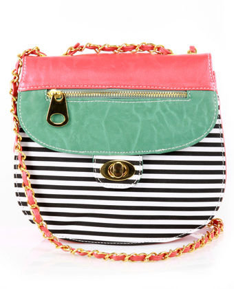 Cute Striped Purse - Coral Purse - Vegan Purse - $31.00