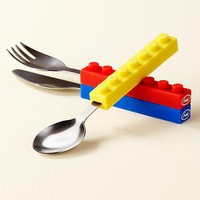 The Land of Nod: Kids' Tableware: Kids Building Block Inspired Stacking Silverware in Mealtime