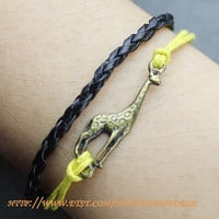 jewelry bracelet  antique bronze giraffe bracelet yellow  rope bracelet black leather bracelet-N571