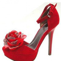 RED DRESSY HEELS WITH FLORAL DETAIL @ KiwiLook fashion