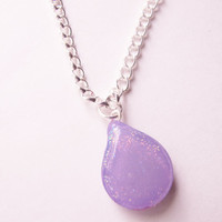 Purple Bubble teardrop necklace, Handmade silver and purple gemstone necklace