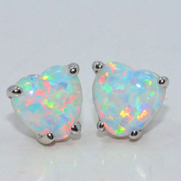 3 Carat Opal Heart Shape Stud Earrings in Sterling Silver