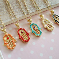 Hamsa Hand Good Luck Necklace Choose Your Color