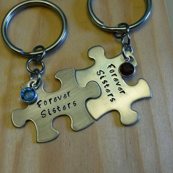 Hand Stamped Keychains - Forever Sisters Puzzle Piece Keychain - Sisters Keychains