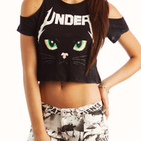 graphic-cat-tee BLACK MINT YELLOW - GoJane.com