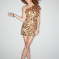 Sexy Asymmetrical beading gold purple short Prom party cocktail Dresses 2012 PSDM0020