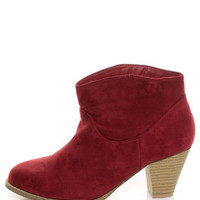 Bamboo Saratoga 01 Wine Red Ankle Booties - $44.00