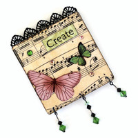 Sheet Music Fridge Magnet Butterfly Refrigerator Magnet Mixed Media Collage Decoupaged Magnet OOAK Swarovski Crystal Green Mauve Pale Pink