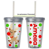 Christmas/Winter personalized 12 oz kids tumbler-Snowman,Reindeer,Santa,Penguin from SimpleXpressions-Personalized!