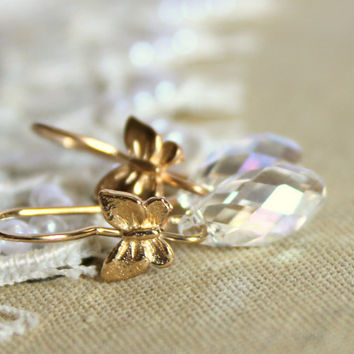 Crystal clear shiny tear drop Butterfly earrings - 14k goldfield with tear drop clear swarovski crystals